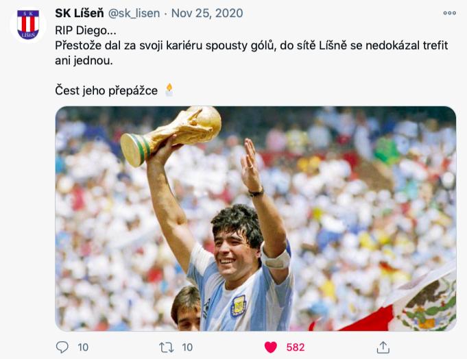 Účet SK Líšeň, který má na 700 sledujících, není klubový.