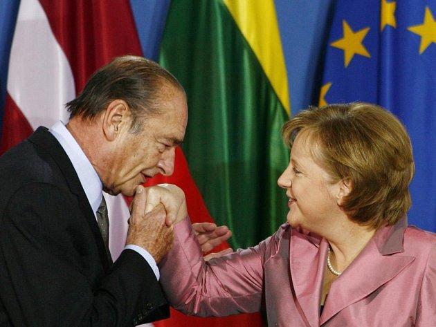 Angela Merkelová a Jacques Chirac