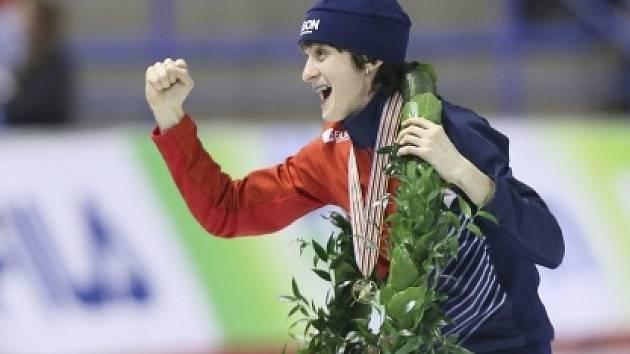 Martina Sáblíková a její radost ze zlata na MS