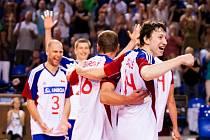 Čeští volejbalisté se radují z postupu do semifinále Evropské ligy.