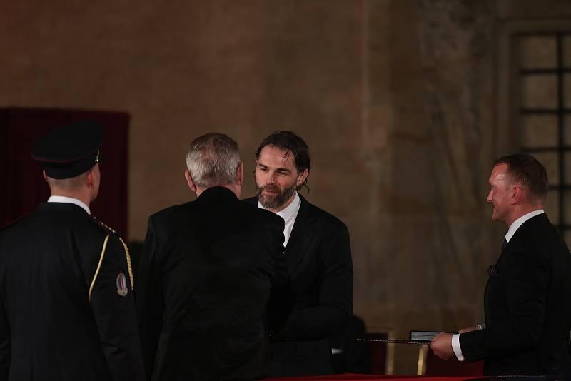 Předávání státních vyznamenání 28. října na Pražském hradě. Jaromír Jágr.