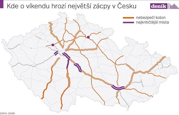 Očekávaná krizová místa na českých silnicích během posledního prázdninového víkendu