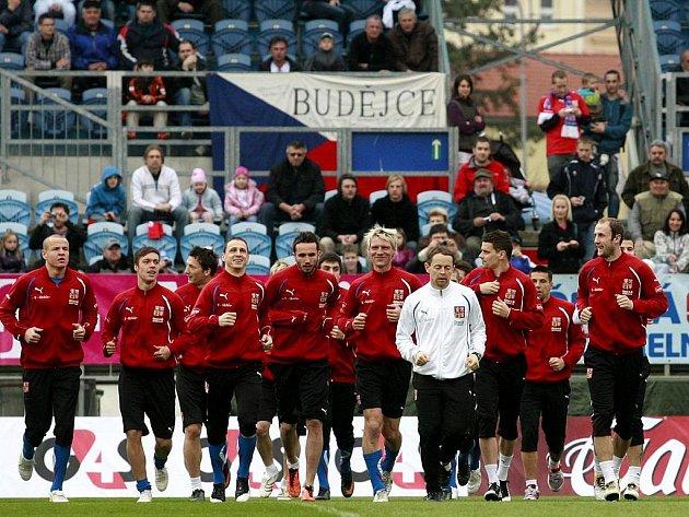 Trénink fotbalové reprezentace v Českých Budějovicích.