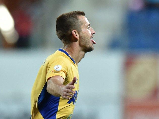 Michael Lüftner z Teplic se raduje z gólu proti Mladé Boleslavi.