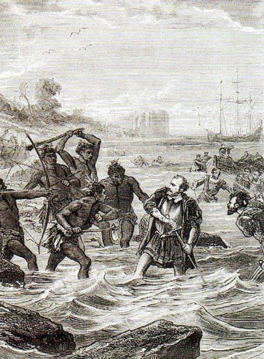 Mořeplavcův poslední boj s ostrovními domorodci v představách neznámého romantického umělce 19. století