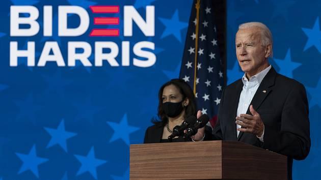 Příští prezident Spojených států Joe Biden a budoucí viceprezidentka Kamala Harrisová