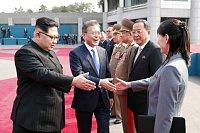 Kim Čong-un a Mun Če-in na summitu Jižní a Severní Koreje