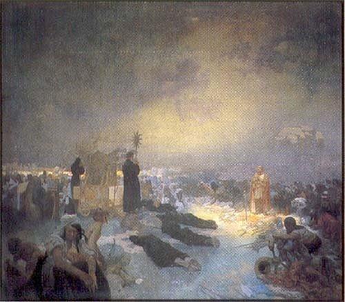 """Alfons Mucha, obraz z cyklu Slovanská epopej s podtitulem """"Po bitvě na Vítkově: Tě Boha chválíme"""", dokončený v roce 1916"""