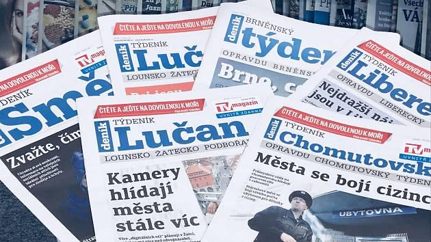 Týdeníky Deníku, které nově pokrývají všechny okresy ČR.