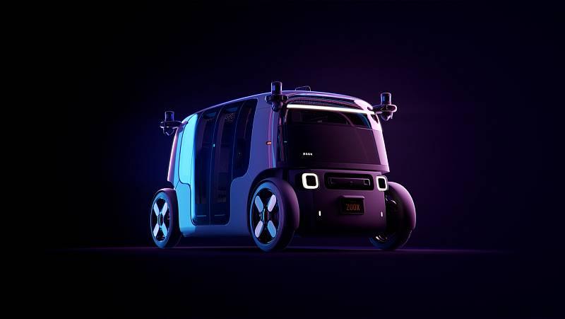 Prototyp samořiditelného, elektrického a robotického taxíku. Jmenuje se Zoox.