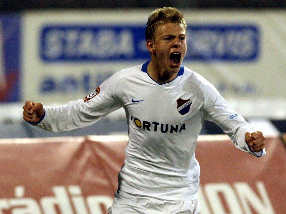 Matěj Vydra se raduje z jednoho ze dvou gólů do jablonecké sítě.