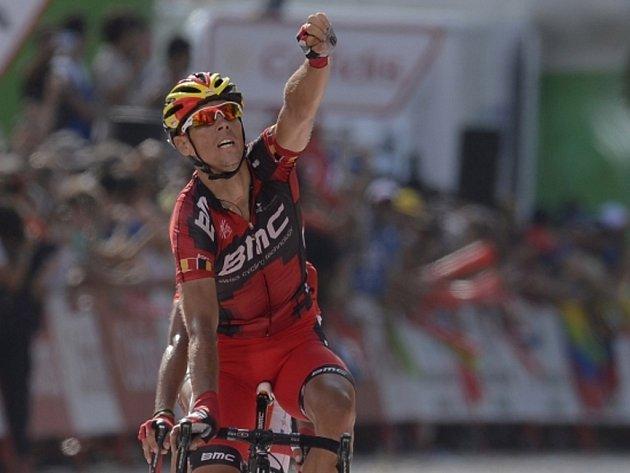 Philippe Gilbert se raduje z vítězství v deváté etapě Vuelty.