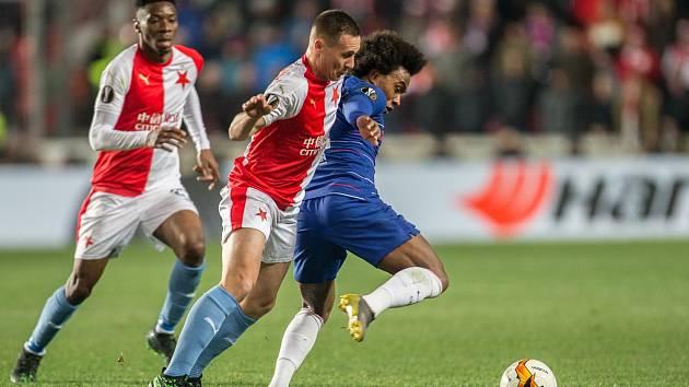 Jan Bořil v zápase proti Chelsea