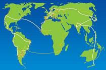 Mapa celosvětového pochodu za mír a nenásilí