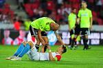 Fotbalové utkání Fortuna ligy mezi celky SK Slavia Praha  a MFK Karviná 28. července v Praze. Milan Škoda a Marek Janečka po zápase.