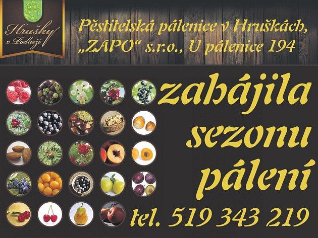 """Pěstitelská pálenice v Hruškách, """"ZAPO"""" s.r.o.,  zahájila sezonu pálení"""