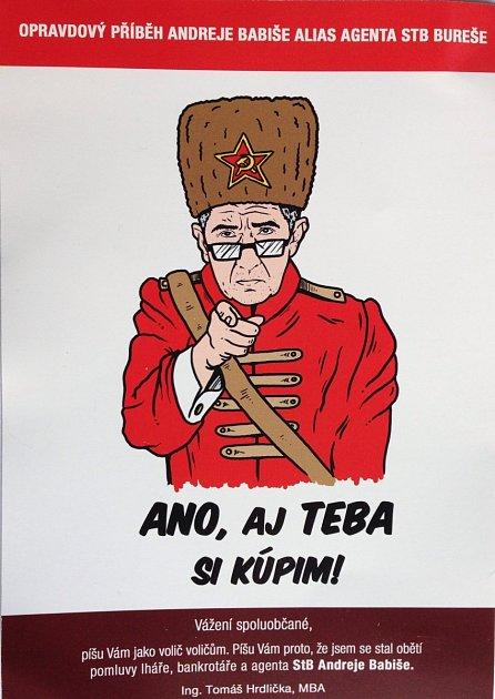 Leták, který zobrazuje podnikatele a lídra hnutí ANO Andreje Babiše jako agenta československé tajné policie StB.