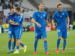 Fotbalisté Liberce se radují z vítězství nad Marseille.
