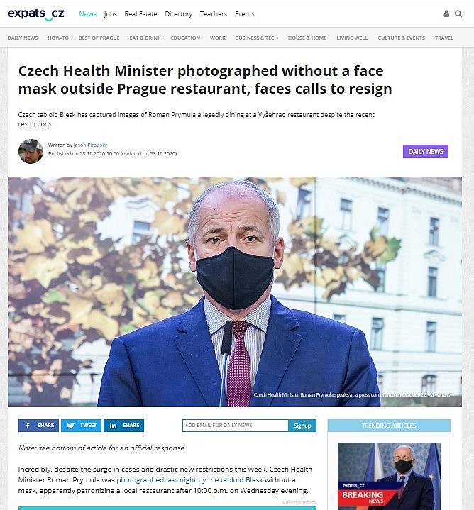 Světová média zaznamenala Prymulovu blamáž. Expats.cz