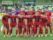 Fotbaloví reprezentanti do jednadvaceti let před zápasem se Slovenskem.