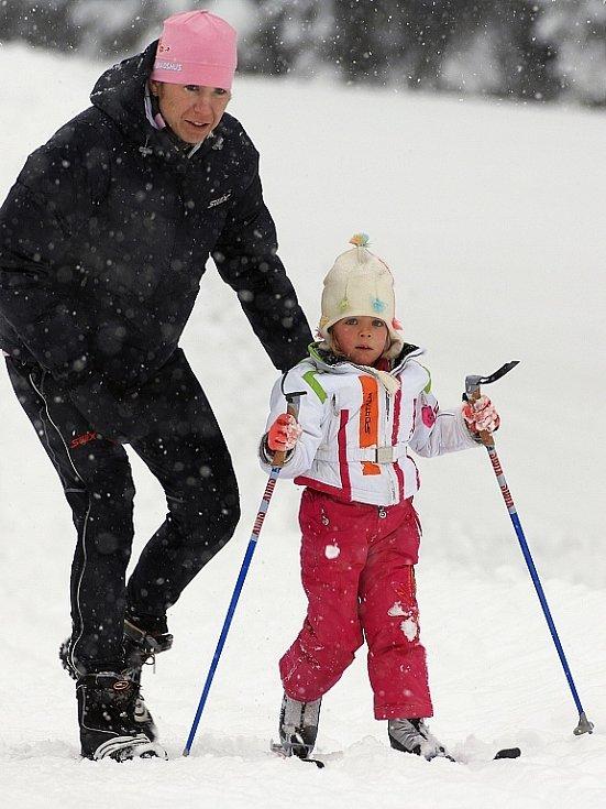 Kateřina Neumannová s dcerou Luckou v Ramsau