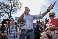Alexej Navalnyj během moskevské demonstrace