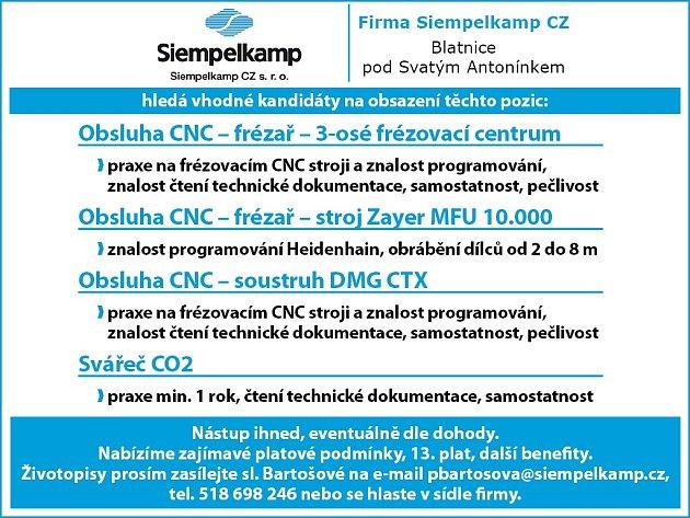 Firma Siempelkamp CZ hledá vhodné kandidáty na obsazení těchto pozic:
