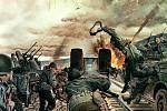 Těžký boj o Ludendorffův most u Remagenu, zachycený na dobové ilustraci