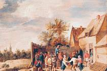 RADOST Z TANCE. Obraz Thomase van Apshovena Vesničané tančící před hospodou