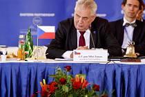 Setkání k 5. výročí Východního partnerství 24. dubna na Pražském hradě. Miloš Zeman.