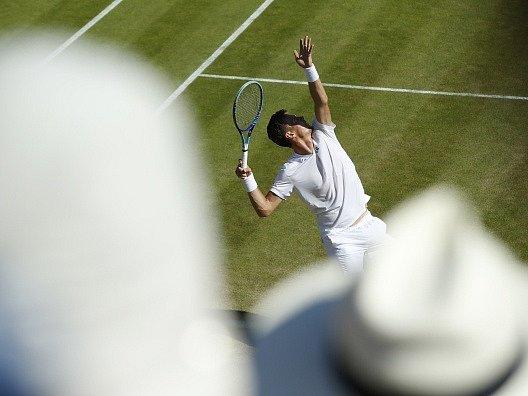 Šestý den Wimbledonu: Pohled z tribuny na Tomáše Berdycha