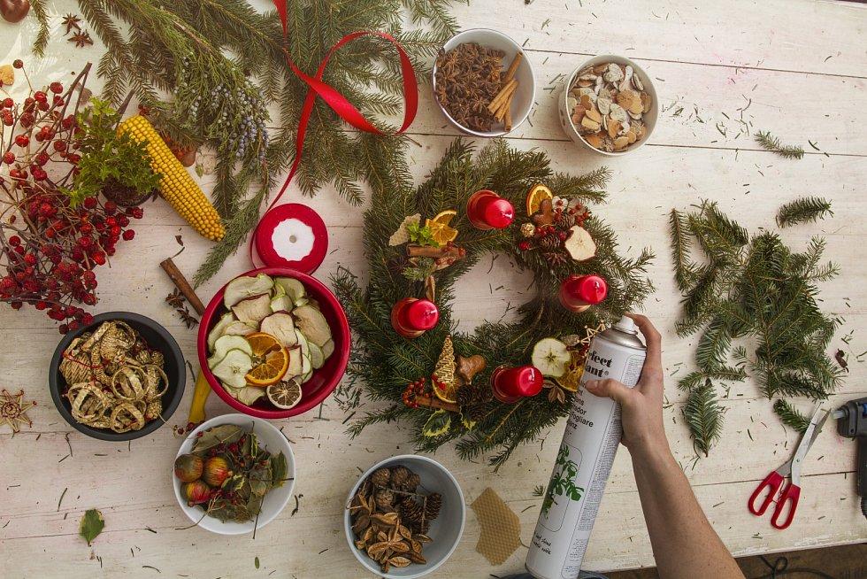Sušené plody, šišky, skořici, ale také šípek můžete nastříkat sprejem na listy