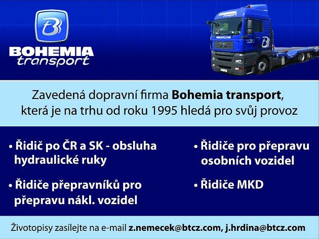Zavedená dopravní firma Bohemia transport hledá pro svůj provoz řidiče.