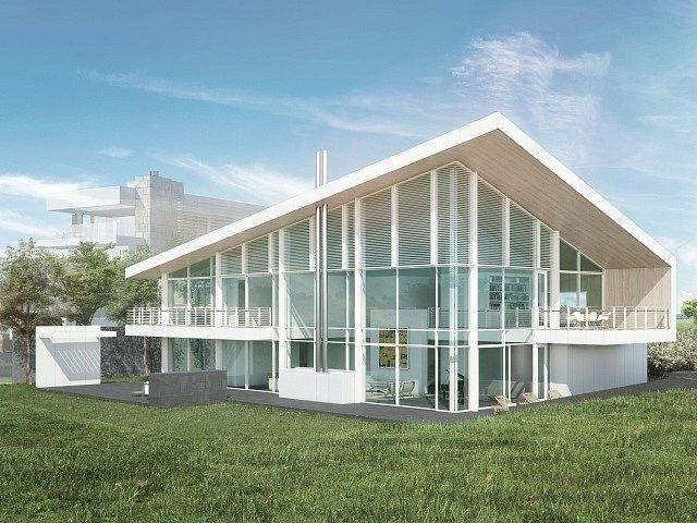 Na vizualizaci návrh bytového domu od architekta Richarda Meiera.