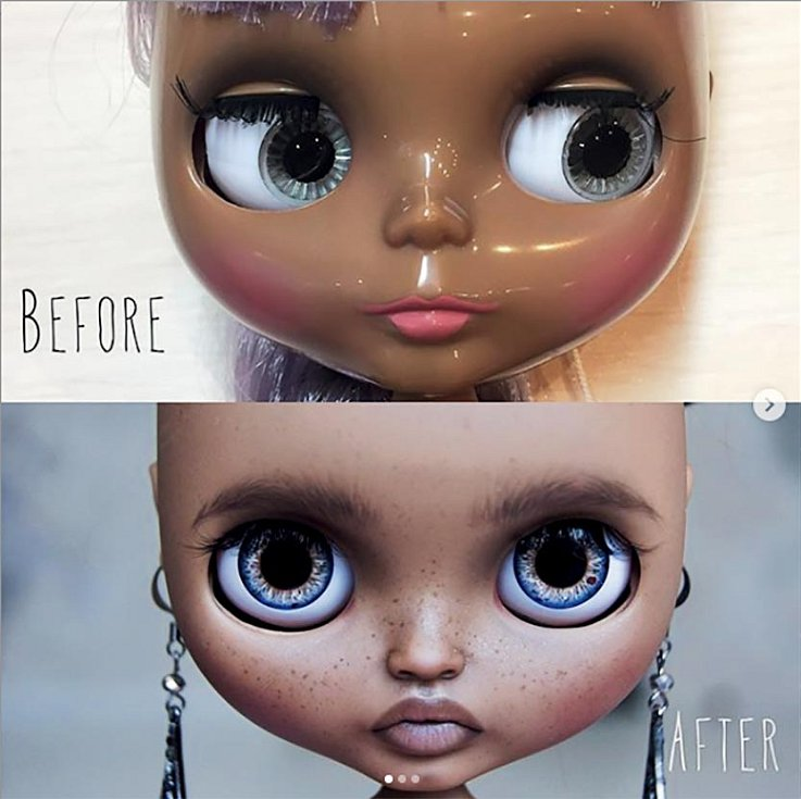 Olga Kamenetskaya panenkám vždy mění oči, které sama koloruje. Původní schová aupraví, apak je použije najiné panenky.