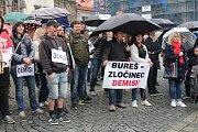 Demonstrace proti Andreji Babišovi a Marii Burešové v Klatovech.