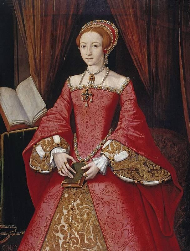 Jeden z mála portrétů, zobrazujících pozdější anglickou královnu Alžbětu I. předtím, než se stala panovnicí.