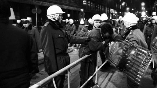 Václavské náměstí v Praze během Palachova týdne, 19. ledna 1989
