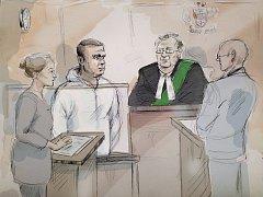 Proces s Alekem Minassianem - kresba ze soudní síně