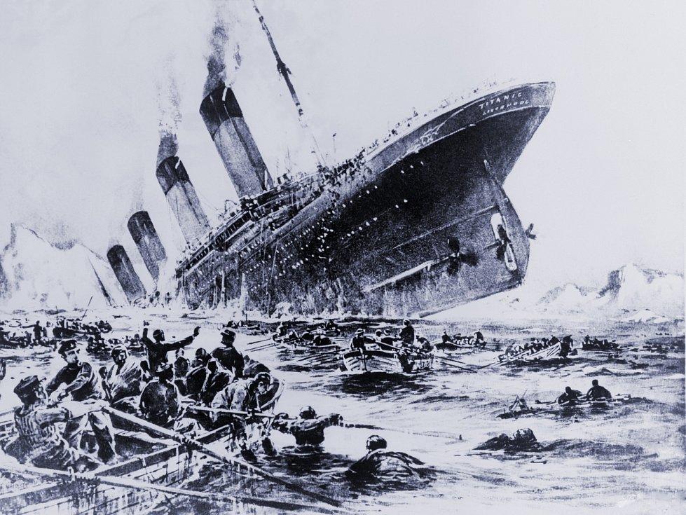 Potopení Titanicu na dobové ilustraci