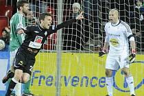 David Lafata oslavuje gól do branky Bohemians.