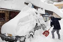 Záplavy sněhu v Německu a Rakousku