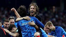 Luka Modrič slaví postup do čtvrtfinále.