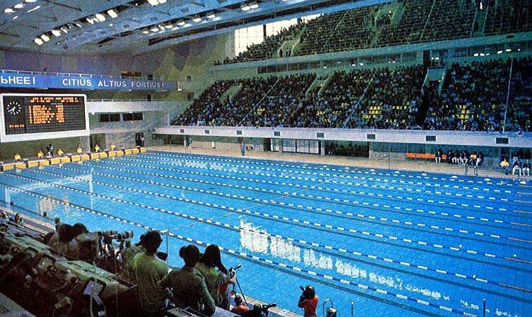 Závodní bazén na letních olympijských hrách v Moskvě v roce 1980