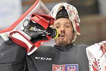 Gólman Šimon Hrubec na reprezentačním tréninku.