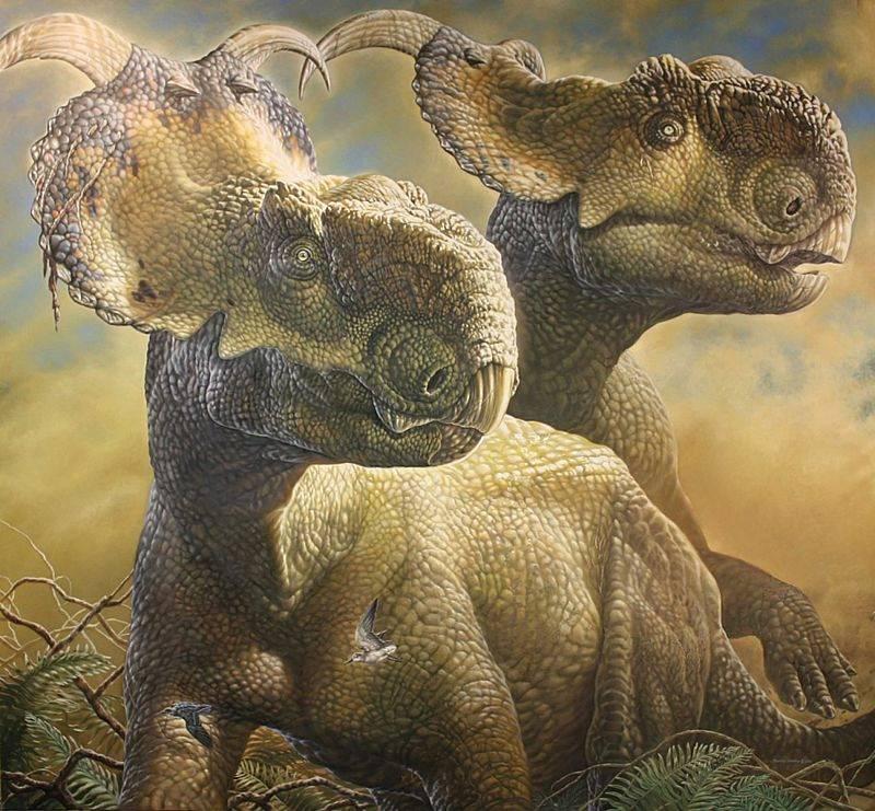 Umělecké zobrazení dinosauřích obyvatel Aljašky. Na snímku jsou Pachyrhinosaurus pperotorum a Gruipeda vegrandiunis.