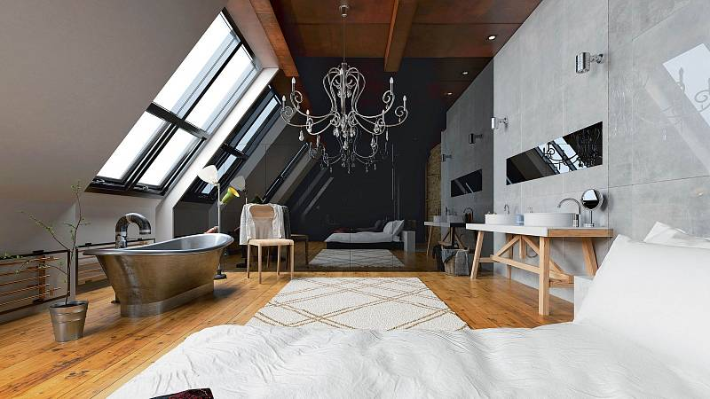 Trend propojení ložnice akoupelny se inspiroval hotelovým stylem.