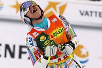 Lindsay Vonnová se raduje z vítězství v obřím slalomu SP v Aare.