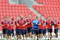 Hráči české fotbalové reprezentace trénovali 4. června v Praze před přípravným zápasem s Koreou.