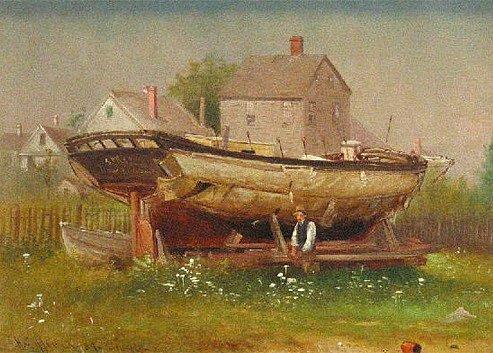 Stavba plachetnice, dobová malba